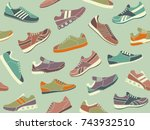 seamless background of sports... | Shutterstock .eps vector #743932510