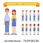 man and woman couple. husband... | Shutterstock .eps vector #743938138