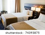 Stock photo interior of hotel room two bed room 74393875