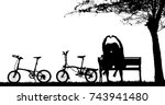 silhouette vintage bike and... | Shutterstock . vector #743941480