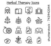 herbal therapy   hospital icon... | Shutterstock .eps vector #743942044