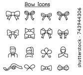 bow   ribbon icon set in thin... | Shutterstock .eps vector #743944306