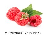 raspberries with leaf isolated... | Shutterstock . vector #743944450