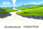 milk poured from the heaven on... | Shutterstock .eps vector #743947954