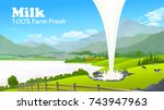 milk poured into a vast river | Shutterstock .eps vector #743947963