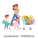 happy family shopping   mother... | Shutterstock .eps vector #743948116