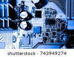 abstract close up of circuits... | Shutterstock . vector #743949274