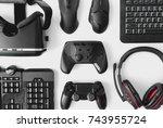gamer workspace concept  top... | Shutterstock . vector #743955724