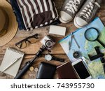top view travel concept with... | Shutterstock . vector #743955730
