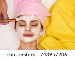 relax  woman with closed eyes ... | Shutterstock . vector #743957206