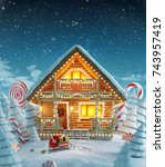 amazing decorated log house... | Shutterstock . vector #743957419