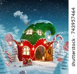 amazing fairy house decorated... | Shutterstock . vector #743957464