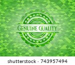genuine quality realistic green ... | Shutterstock .eps vector #743957494