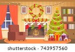 christmas interior of the... | Shutterstock .eps vector #743957560