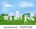 woman jogging in the park of... | Shutterstock .eps vector #743957638