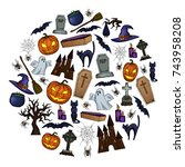 set of halloween icons for... | Shutterstock . vector #743958208