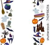 seamless vertical borders of... | Shutterstock . vector #743958256