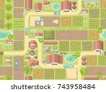 seamless pattern. farm view... | Shutterstock .eps vector #743958484