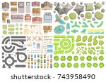 set of landscape elements.... | Shutterstock .eps vector #743958490