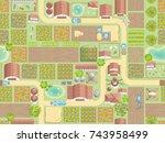 seamless pattern. farm view...   Shutterstock .eps vector #743958499