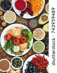 brain health food concept with... | Shutterstock . vector #743959489