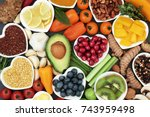 health food for fitness concept ... | Shutterstock . vector #743959498