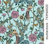 victorian garden. floral... | Shutterstock .eps vector #743960020