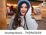 close up portrait of inspired...   Shutterstock . vector #743962654