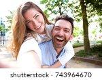 close up selfie portrait of... | Shutterstock . vector #743964670