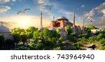bird and hagia sophia at sunset ... | Shutterstock . vector #743964940