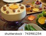 homemade chestnut mousse cake... | Shutterstock . vector #743981254