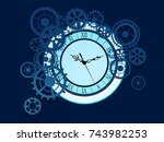 old glass clock with gears ... | Shutterstock . vector #743982253