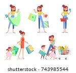 women's shopping vector set.... | Shutterstock .eps vector #743985544
