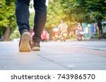 young woman traveller walking... | Shutterstock . vector #743986570