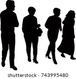 people walking  silhouette... | Shutterstock .eps vector #743995480