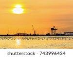 container cargo freight ship... | Shutterstock . vector #743996434