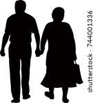 couple walking silhouette vector | Shutterstock .eps vector #744001336