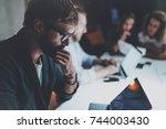 businessman working together... | Shutterstock . vector #744003430