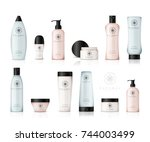 realistic cosmetic bottles with ...   Shutterstock .eps vector #744003499