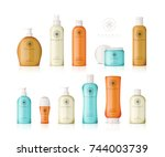 realistic cosmetic bottles with ... | Shutterstock .eps vector #744003739