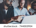 man wearing glasses and... | Shutterstock . vector #744003904