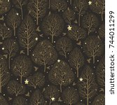seamless christmas pattern with ... | Shutterstock .eps vector #744011299