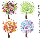 vector four season trees | Shutterstock .eps vector #74401171