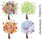 vector four season trees   Shutterstock .eps vector #74401171