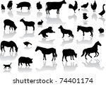 Stock vector vector farm animals with reflection 74401174