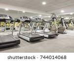 interior of a gym with equipment   Shutterstock . vector #744014068