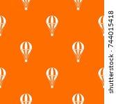 hot air striped balloon pattern ... | Shutterstock .eps vector #744015418