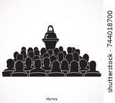 orator saudi arab speaking from ... | Shutterstock .eps vector #744018700