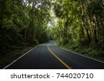 rural country road on the... | Shutterstock . vector #744020710