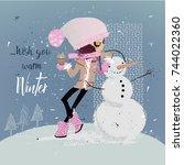 cute cartoon girl | Shutterstock .eps vector #744022360